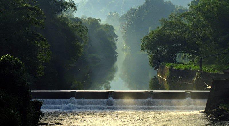 A dam across Wee oya on the way to Wee Oya Ella — in Yatiyantota, Sri Lanka.