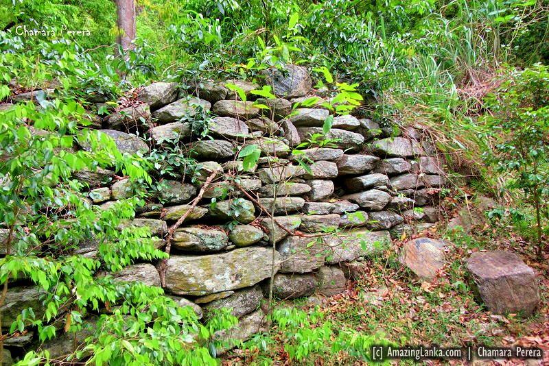 An ancient retaining wall at Nuwaragala Kanda in Ampara