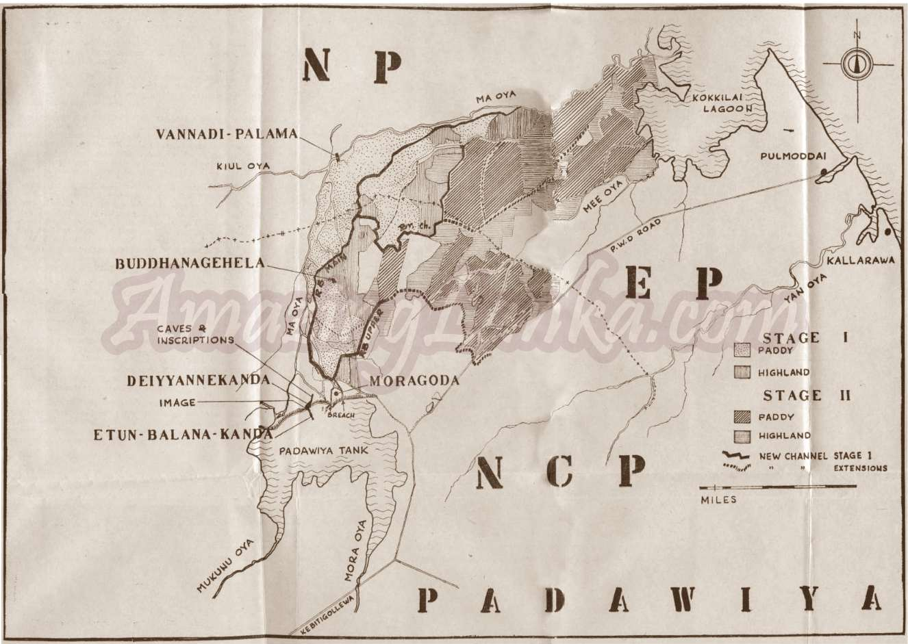 A map of Padaviya area drawn in 1969 based on colonial maps.