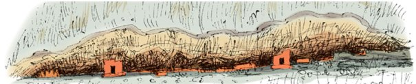A sketch of the cave considered to be the longest drip ledgeed cave in Asia at Hulannuge Tharulengala Rajamaha Viharaya