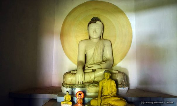 The supposedly largest marble Buddha statue in the country donated by the king of Siam over 100 years ago to the Kosgoda Ganegodella Rajamaha Viharaya