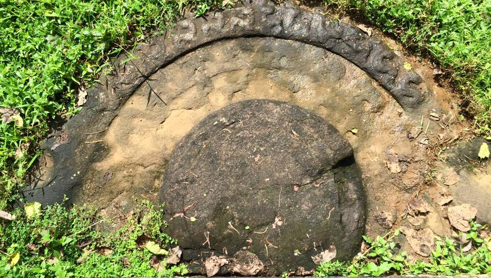 The unique moonstone which is protected by an iron fence at BeligalaThe unique moonstone which is protected by an iron fence at Beligala Rajamaha Viharaya Rajamaha Viharaya