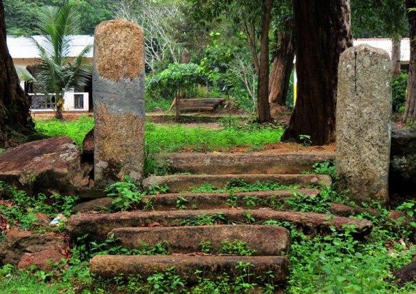 Steps and guard stones to an forgotten ancient building - Kethsirigama Mihindu Aranya Senasanaya