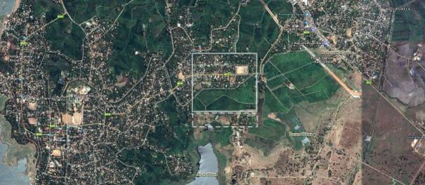 Satellite image of of the area covering the fort of Kaduruwela.