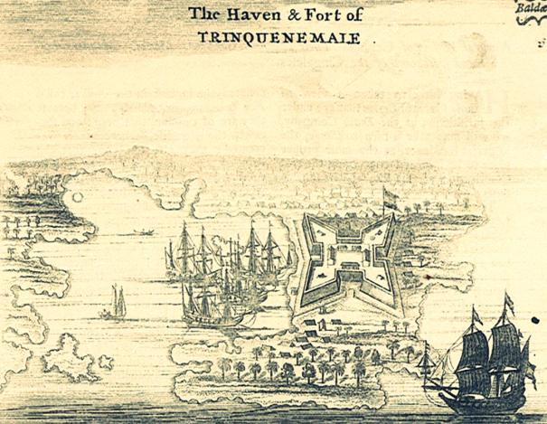 Antique print of the Trincomalee Fort, Sri Lanka by Baldaeus, printed in 1672 for the Dutch first edition of Baldaeus' work 'A true and exact description of the most celebrated East-India coasts of Malabar and Coromandel and also of the Isle of Ceylon' published in Amsterdam, 1672 by Janssonius van Waasberge en van Someren