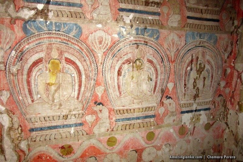 Fading paintings inside the Tampita Viharaya at Atupothdeniya Pothgul Rajamaha Viharaya