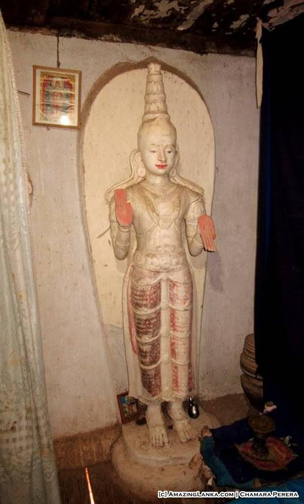 Wooden Devatha Statues in the Weragama Purana Tampita Rajamaha Viharaya (Diya Bubule Pansala)