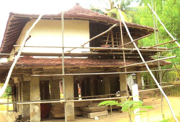 Pahala Baladora Sri Nagarukkarama Purana Tampita Viharaya during renovations - පහළ බලදොර ශ්රී නාගරුක්ඛාරාම පුරාණ ටැම්පිට විහාරය