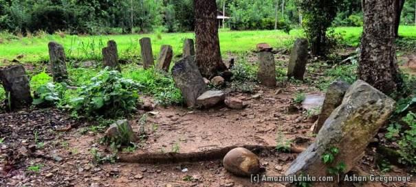 Remains of an ancient building at the Buttala Pelawatta Unawatuna Rajamaha Viharaya