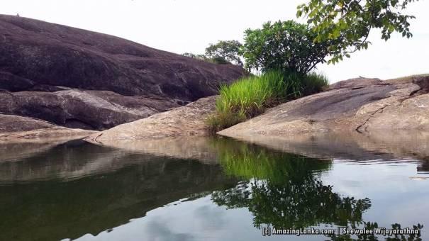 The natural rock pool at the top of the Hambegamuwa Rock Plateau