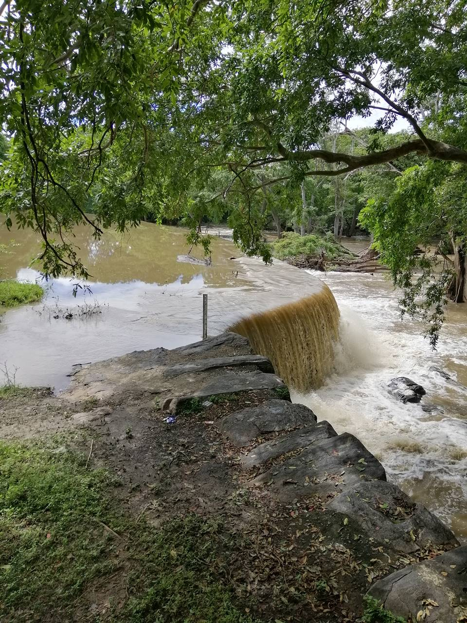 When the water overflows over the Ancient Thekkama Anicut