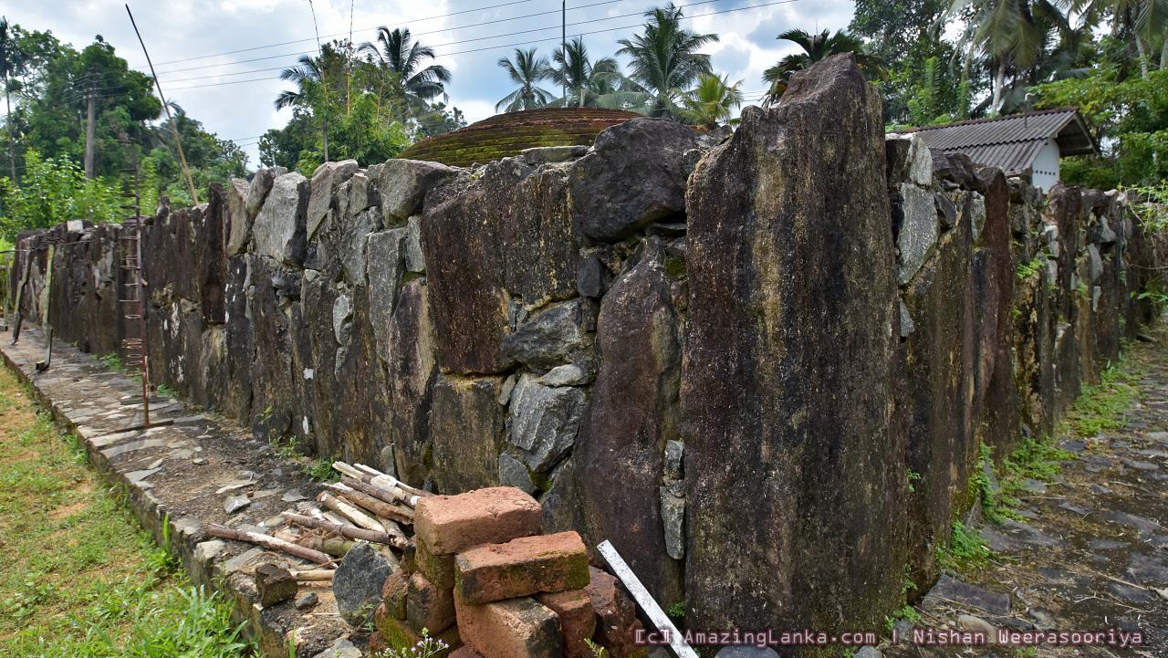 Natural rock slabs used to reinforce the square platform at the Warakagoda Veheragoda Stupa Archaeological Site