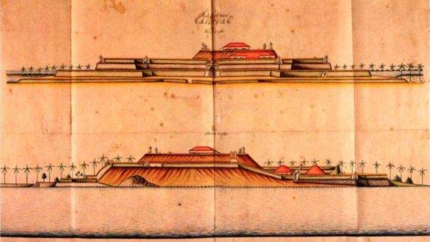 1717-1721 අතර රම්ෆ්ගේ දිනපොතන් (ලංකාවේලන්දේසි ආණ්ඩුකාරතුමා) වර්ණ ගැන්වූ පින්තූර -කළුතර බලකොටුව - ඊසාන දෙසින් හාවයඹදෙසින් .- colored paintings from Rumpf's Diary (the Dutch Governor of Ceylon) 1717 -1721 - Views of the Kalutara Fort from North-west and South-west