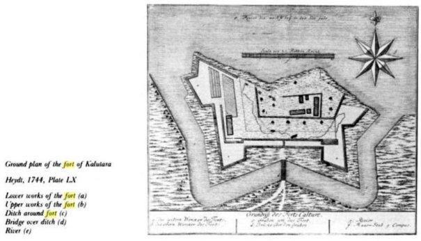 1744 දී අඳිනලද කළුතර බලකොටුවේ සැළැස්මක් - A plan of the Kalutara Fort drawn in 1744