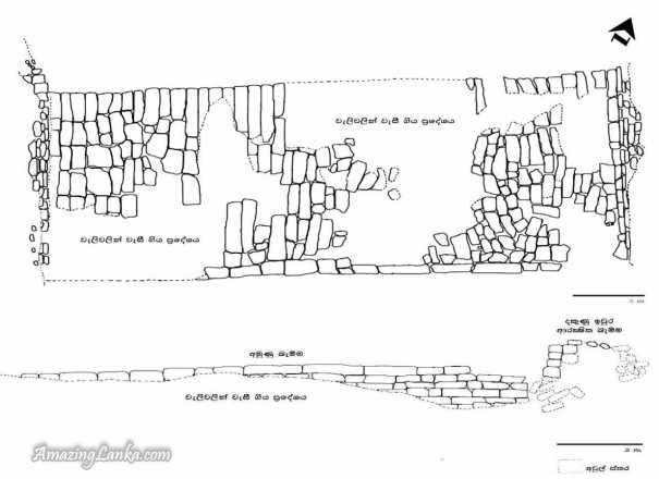 අනුරාධපුරය සහ ත්රිකුණාමලය දිස්ත්රික්කයන්ට මායිම්ව පිහිටි වාහල්කඩ අමුණේ මතුපිට සැලැස්ම සහ හරස්කඩ සැලැස්මක් - The Plan and the cross section of the ancient Wahalkada Amuna bordering Anuradhapura and Trincomalee Districts
