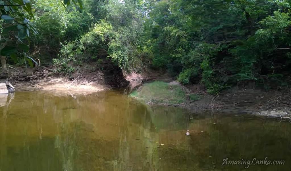 විලේවැව පුරාණ අමුණින් වමට දිවෙන ඇළ මාර්ගය - The ruined canal on the left bank of Yan Oya above the ancient Wilewewa Weir