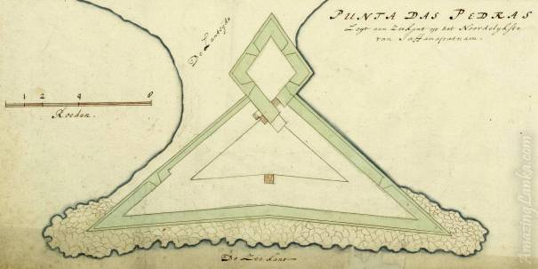 A 1693 map of Portuguese fort at Point Pedro from the Dutch National Archives