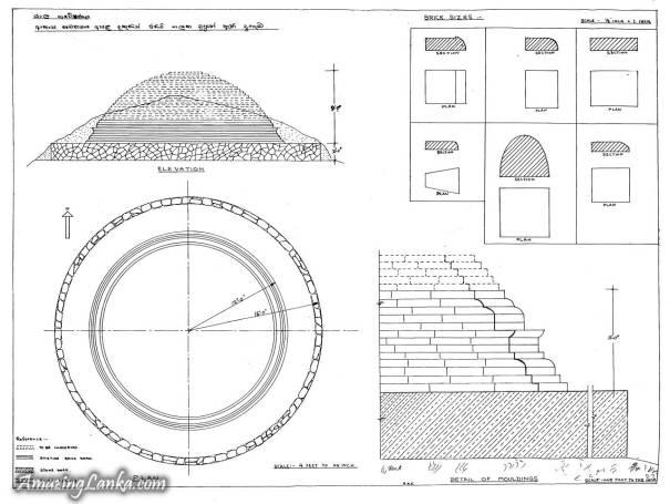 The Ruined stupa on the Rock south of Akasa Chethiya on the Elephant Rock hidden inside the in Yala Sanctuary - යාල වනයේ ඇතාගල ලෙස හඳුන්වන පර්වතය මත ඇති පුරාණ ආකාශ චෛත්යයට දකුණින් ඇති පර්වතය මුදුනේ ඇති නටබුන් වූ චෛත්