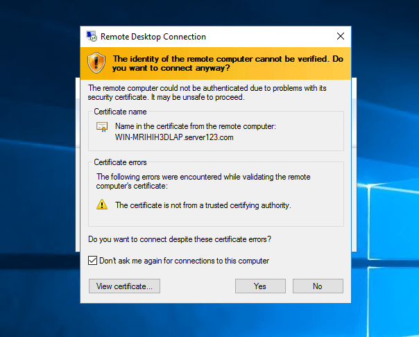 Connect With RDP Through Desktop