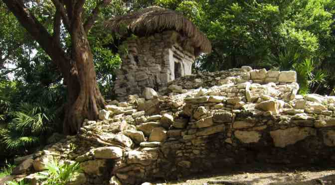 Small temple building at Xaman-Ha in Playa del Carmen