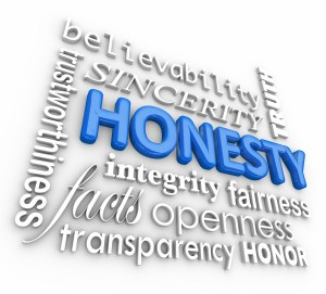 Honesty and related 3d words including sincerity, believability,