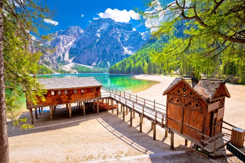 Lago Di Braies Turquoise Water And Dolomites Alps View