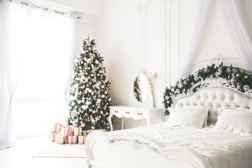 Christmas Living Room With A Christmas, Gifts Tree And Bed. Beau