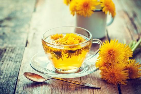 Cup Of Healthy Dandelion Tea. Herbal Medicine. Retro Toned.