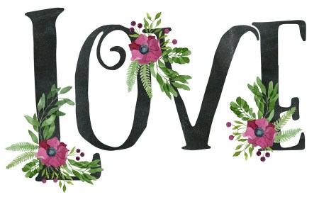 Love Sign Made Of Chalkboard Texture Letters And Watercolor Flor