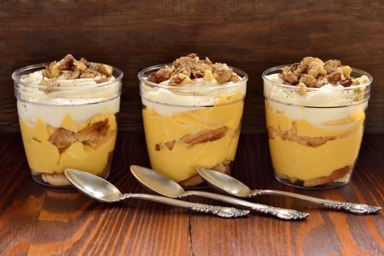 Pumpkin Tiramisu layered dessert with cream, selective focus
