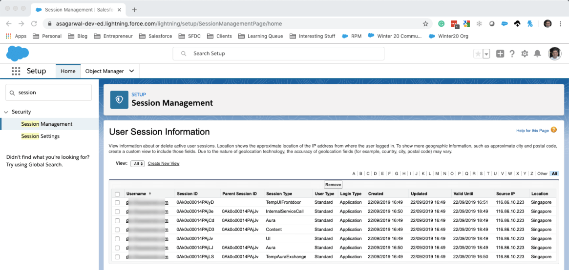 Kill Sessions in Salesforce From Session Management