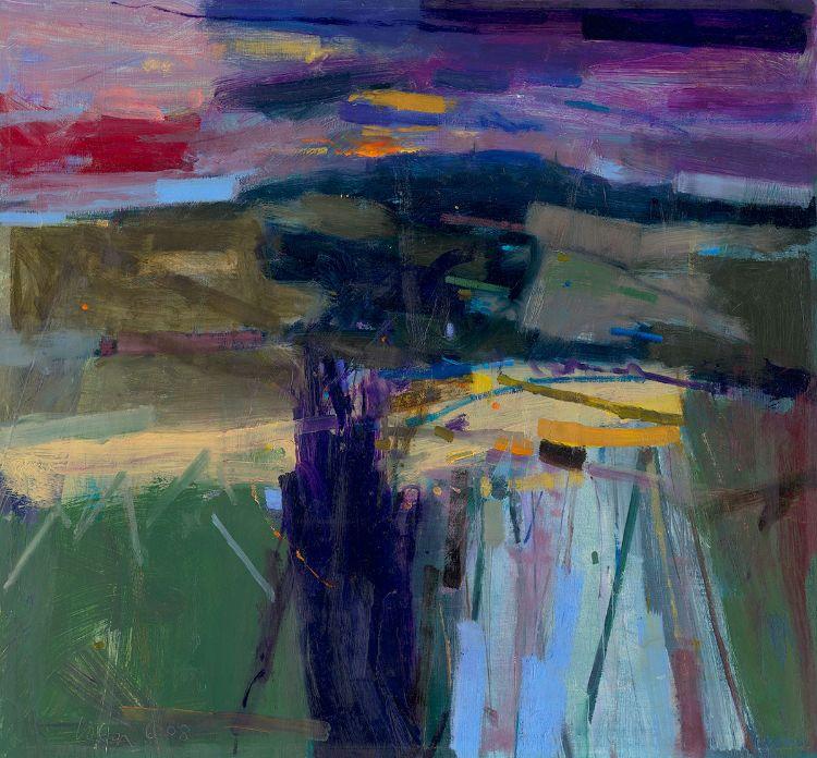 Goodwood Downland Dusk 59x54cm 2008 Oil on Board Estate of Peter Iden #33