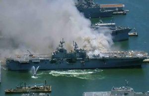 Navio pega fogo em San Diego e 21 pessoas ficam feridas
