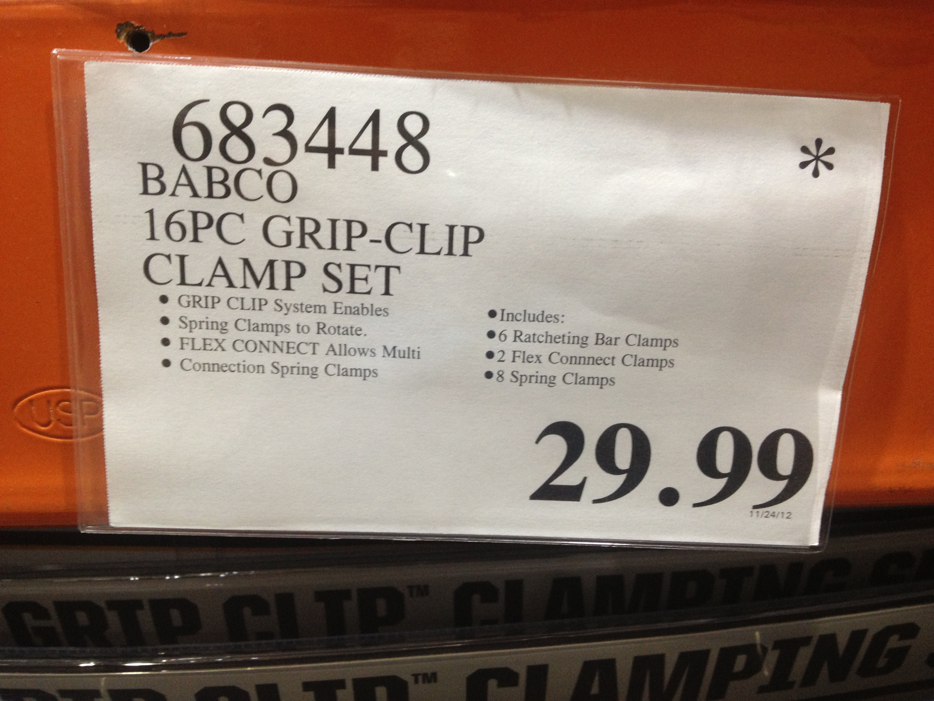 Costco - item number 683448 - Babco 16pc clamp set ... on Costco Number id=64629