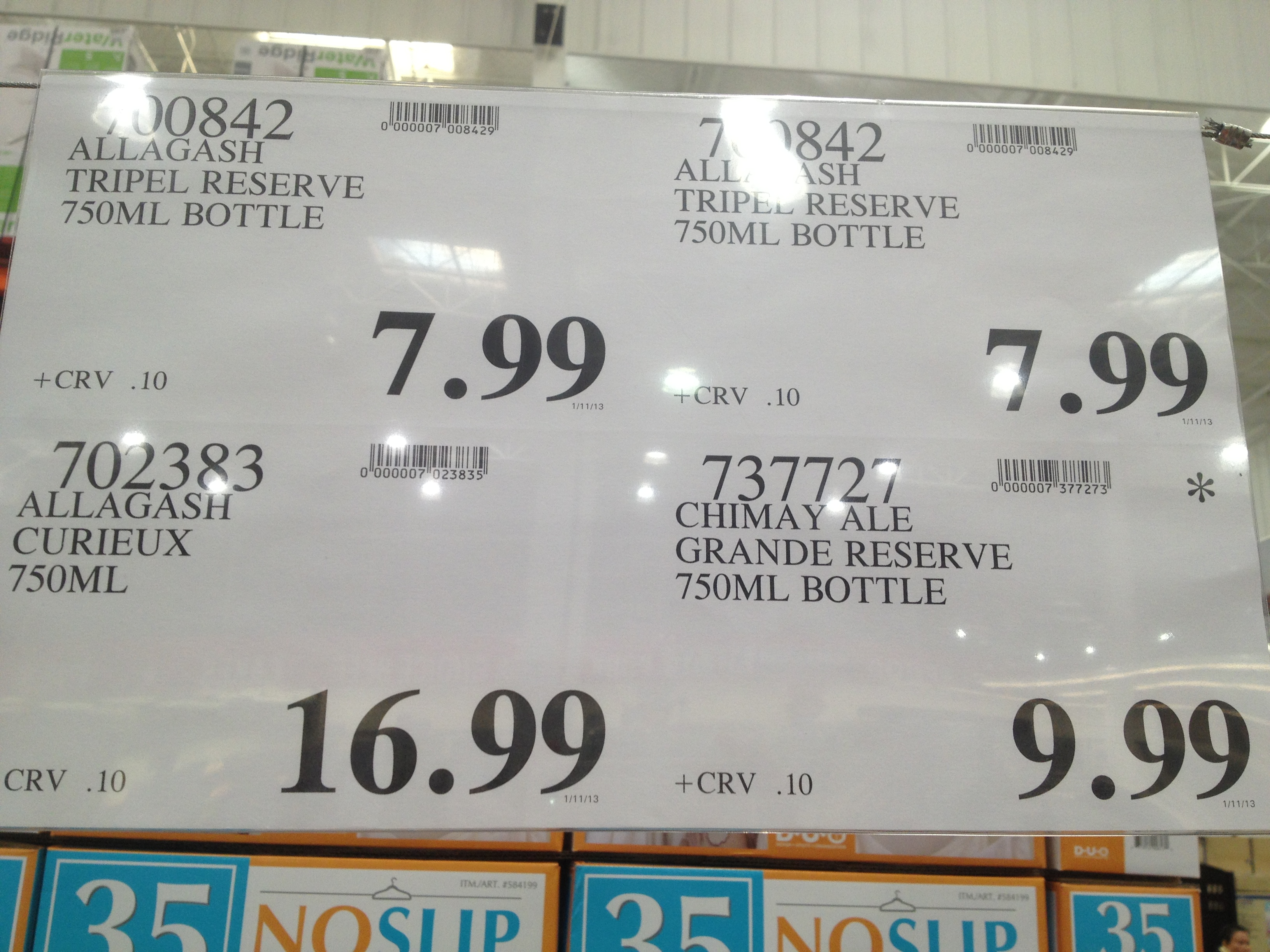 Costco - item numbers 700842 - Allagash Triple Reserve ... on Costco Number id=26000