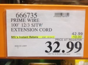 Costco - item number 666735 - 100′ 12/3 SJTW Extension ... on Costco Number id=67685
