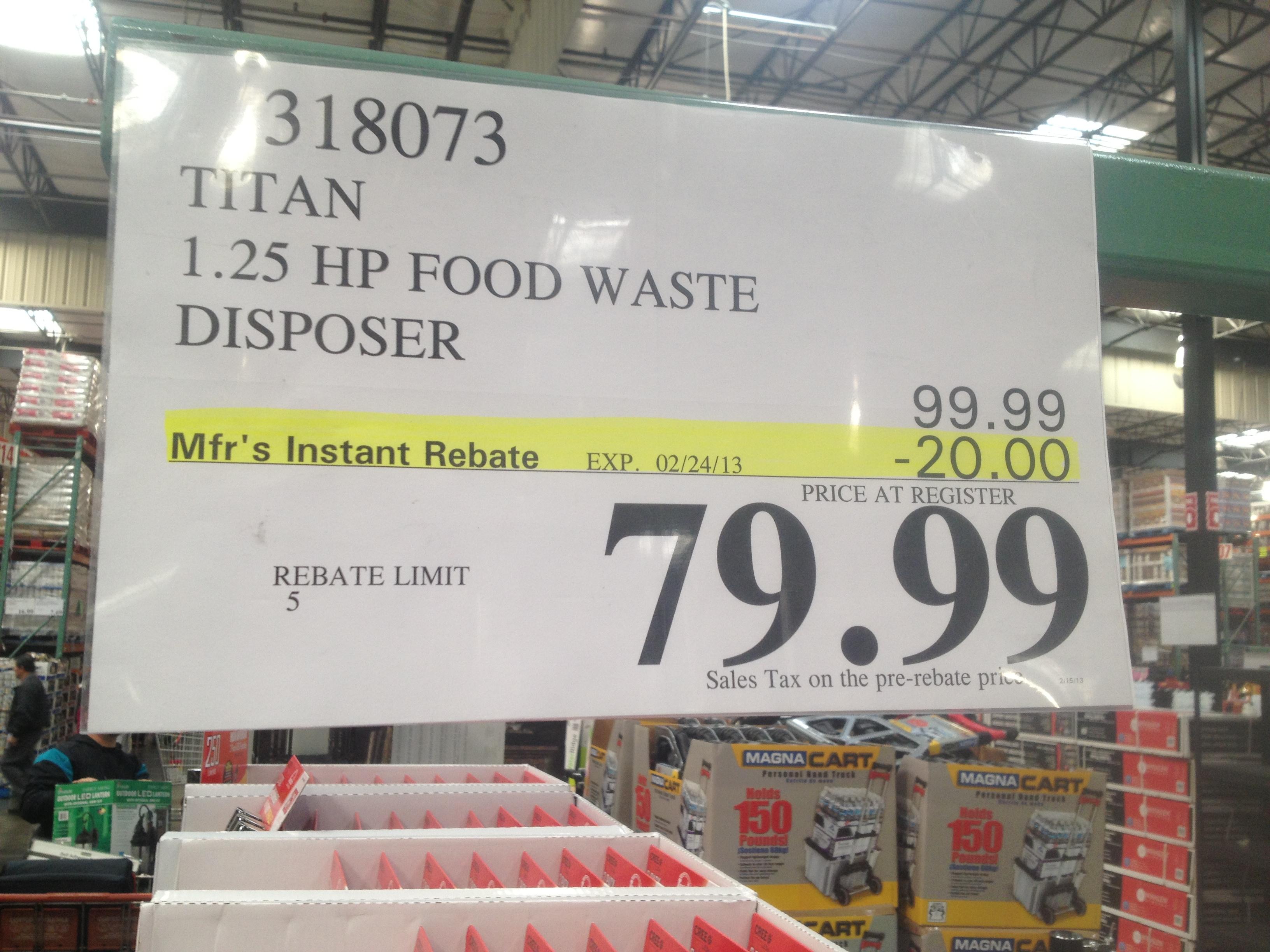 Costco - item number 318073 - Titan 1.25 HP Food Waste ... on Costco Number id=21317