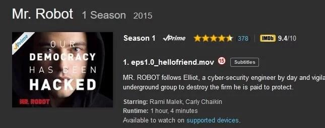 Mr Robot on Amazon Prime
