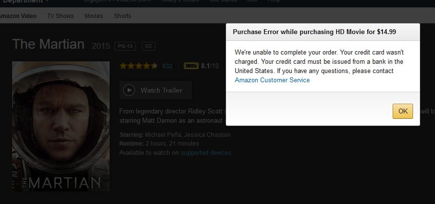 Purchase Error while purchasing HD Movie - Amazon Prime abroad