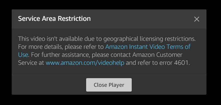 Service Area Restriction when trying to watch Amazon Prime in Australia