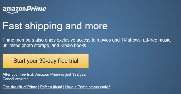 Start your Amazon Prime free trial