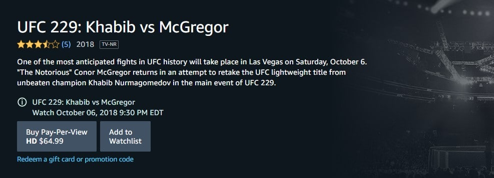 Khabib vs. Mcgregor online on October 6th