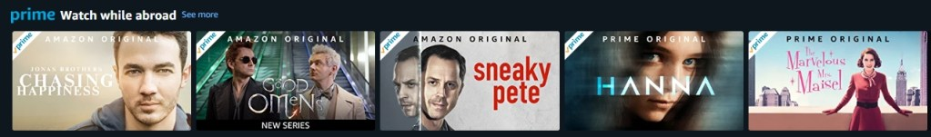 Examples of Amazon original content that you can enjoy with your Amazon Prime subscription when abroad, even without a VPN.
