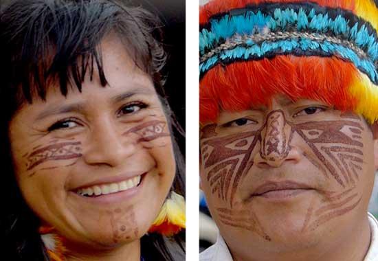 Jaime Vargas, President of the Achuar Nationality of Ecuador and Narcisa Mashienta, community leader from the Shuar Nationality of Ecuador