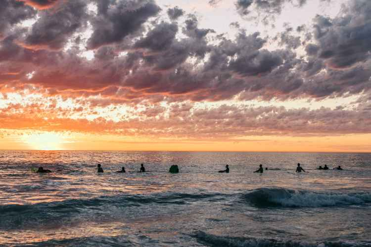 silhouettes of people standing with surfboards in ocean at sundown
