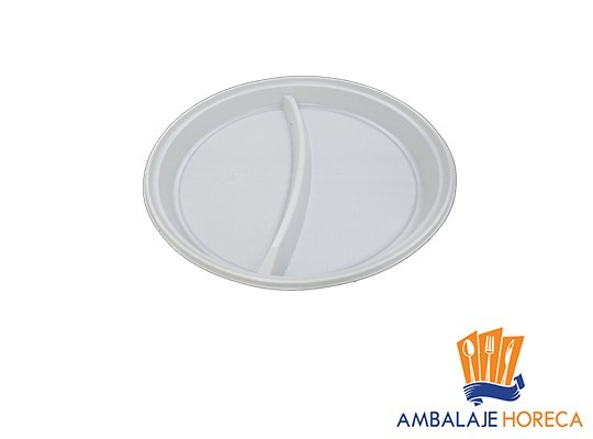 Farfurii plastic 21 cm 2 compartimente