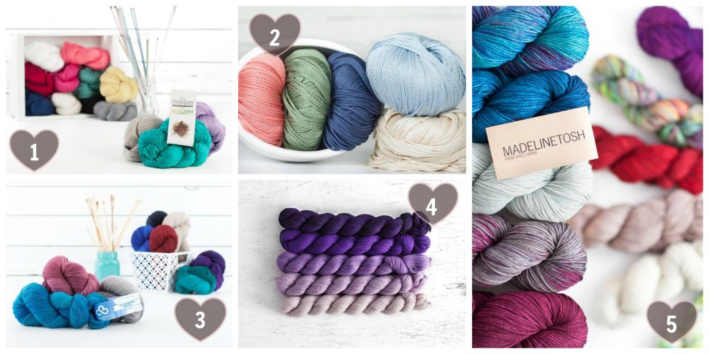 My Top 5 Craftsy Yarns Dream List Roundup - Wish list for yarns I would love to design with this year.