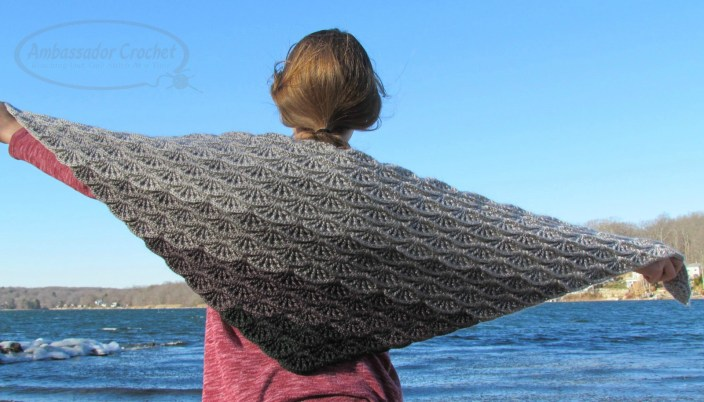 Gray Skies Gradient Shawl - $4.50 crochet pattern by Ambassador Crochet