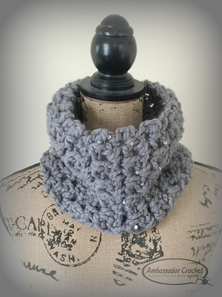Dress it Up Easy Cowl - Quick and easy free crochet pattern by Ambassador Crochet.