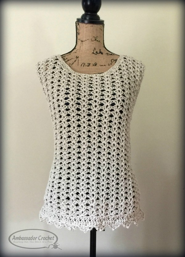 Ava Shell tank - free CAL crochet pattern by Ambassador Crochet. Sizes XS - 5X included in pattern.